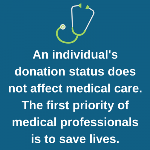 DONATION STATUS DOES NOT AFFECT MEDICAL CARE